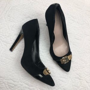 Vince Camuto black suede and gold buckle heels